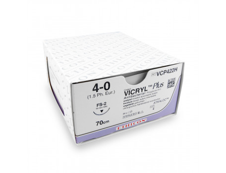 Hechtdraad Vicryl Plus (VCP422H, 4-0, 70cm, FS-2 naald) 36stuks | Ethico