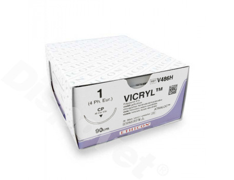 hechtdraad Vicryl Plus (1, 90cm, CP, V486H) 36 stuks   Ethicon